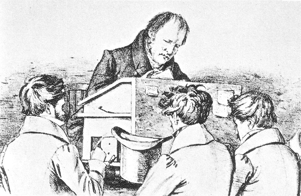 <em> Friedrich Hegel with his students</em>, lithograph by Franz Kugler, 1828