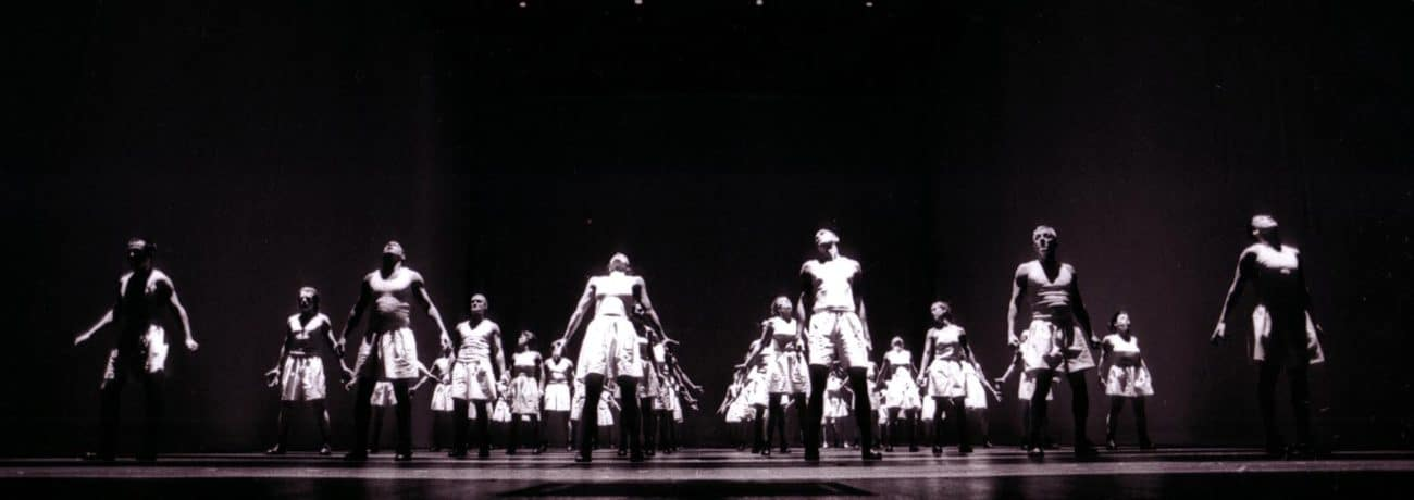 Premiere of Sportstück, 1998 at the Burgtheater in Vienna. Photo by Andreas Pohlmann