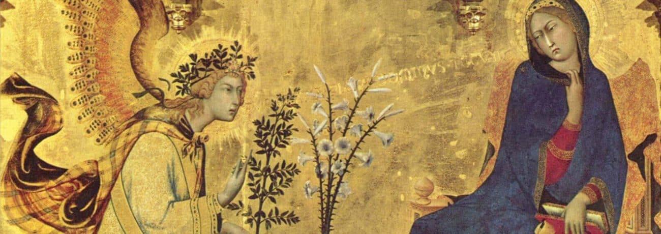Simone Martini e Lippo Memmi. Annunciazione tra i santi Ansano e Margherita. 1333. Galleria degli Uffizi. Particolare.