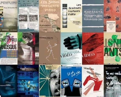 Manifesti delle 30 edizioni del Festival Istantes Vidèo, dal 1988 al 2018