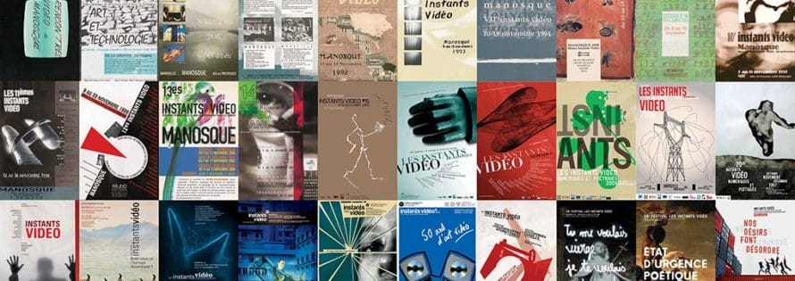 Posters of the 30 editions of the Festival Istantes Vidèo , from 1988 to 2018