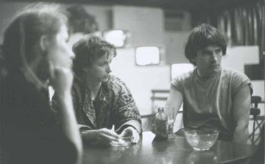The founders of Instants Video : on the left is Anne Van den Steen, at the center Chantal Maire, right Marc Mercier, 1988