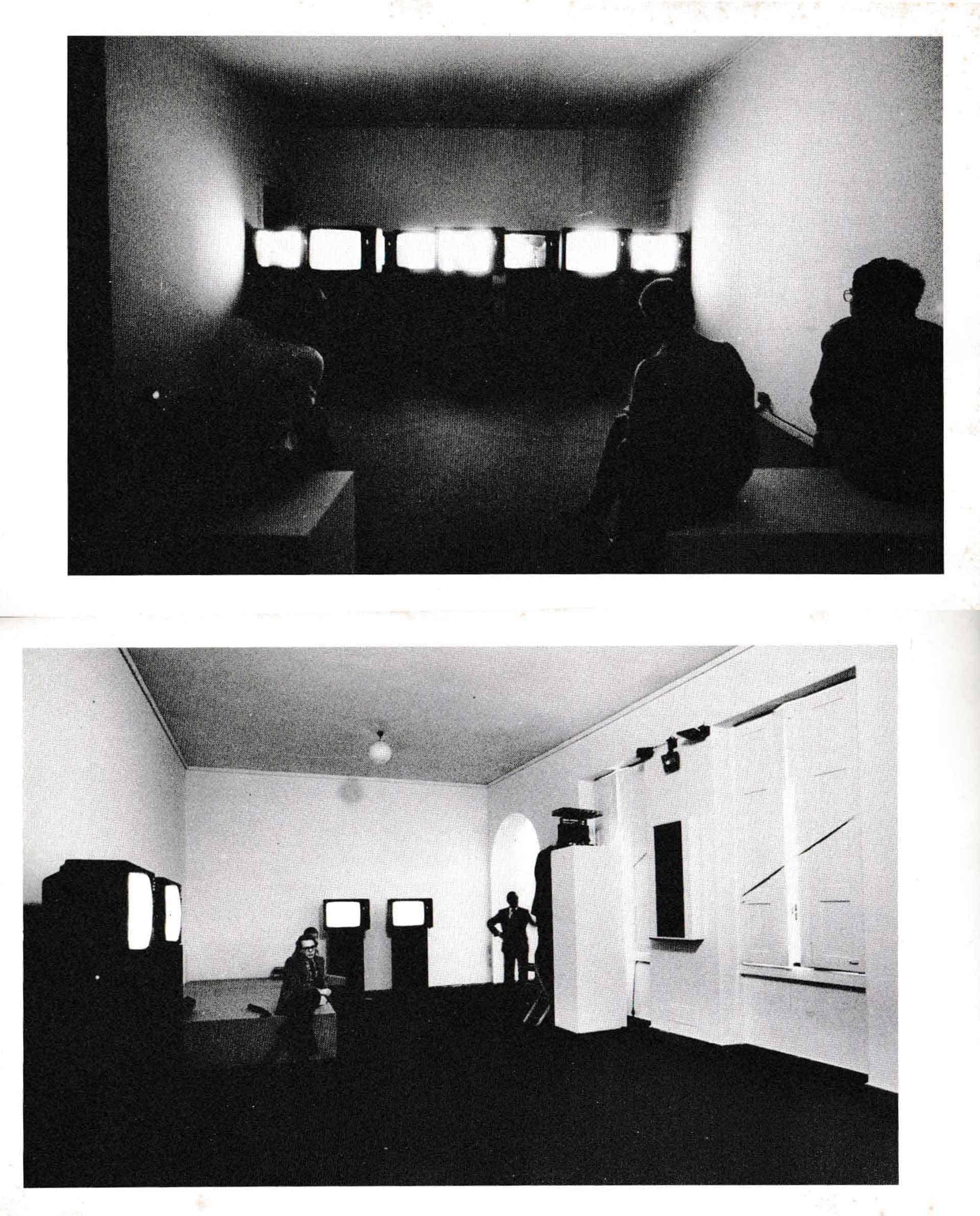 Pagine del catalogo della mostra «Camere incantate. Video, cinema, fotografia e arte negli anni '70», a cura di Vittorio Fagone, Palazzo reale, Milano, 16 maggio - 15 giugno 1980. In alto, installazione «Il tempo consuma» di Michele Sambin; in basso il VideoForum (1980).