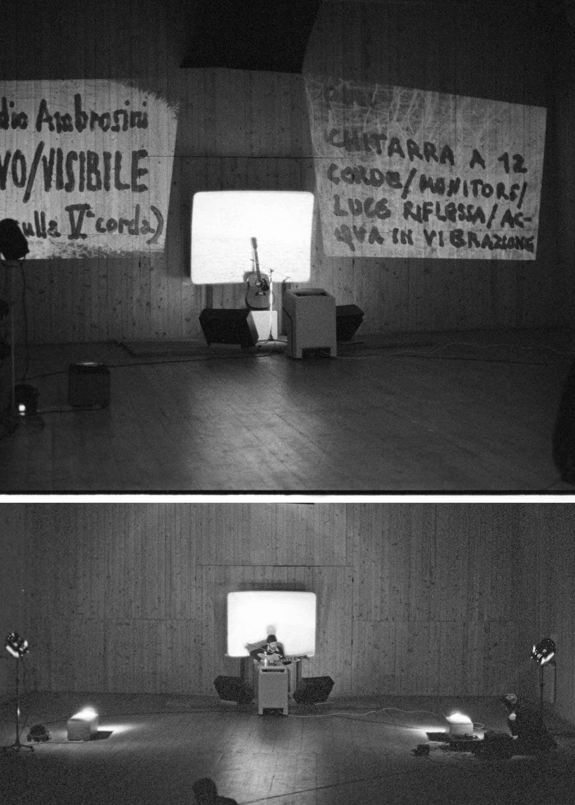 Documentazione fotografica di Paolo Cardazzo per la performance «Visivo/visibile» di Claudio Ambrosini, Sala Polivalente, Ferrara, 1978. Courtesy Collezione privata Cardazzo, Venezia.