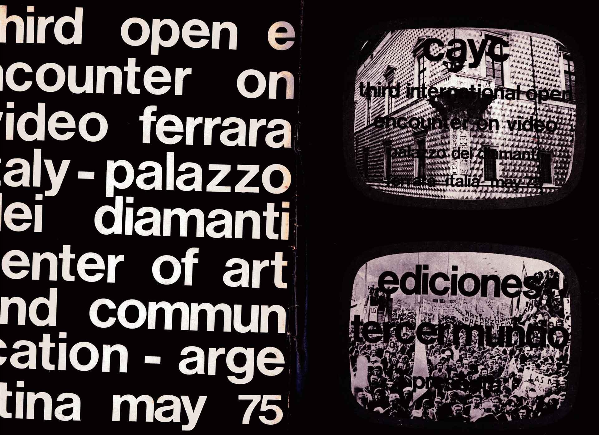 Copertina del catalogo del «Third Open Encounter on Video», a cura di Jorge Glusberg e Lola Bonora, Ferrara, Palazzo dei Diamanti, maggio 1975.