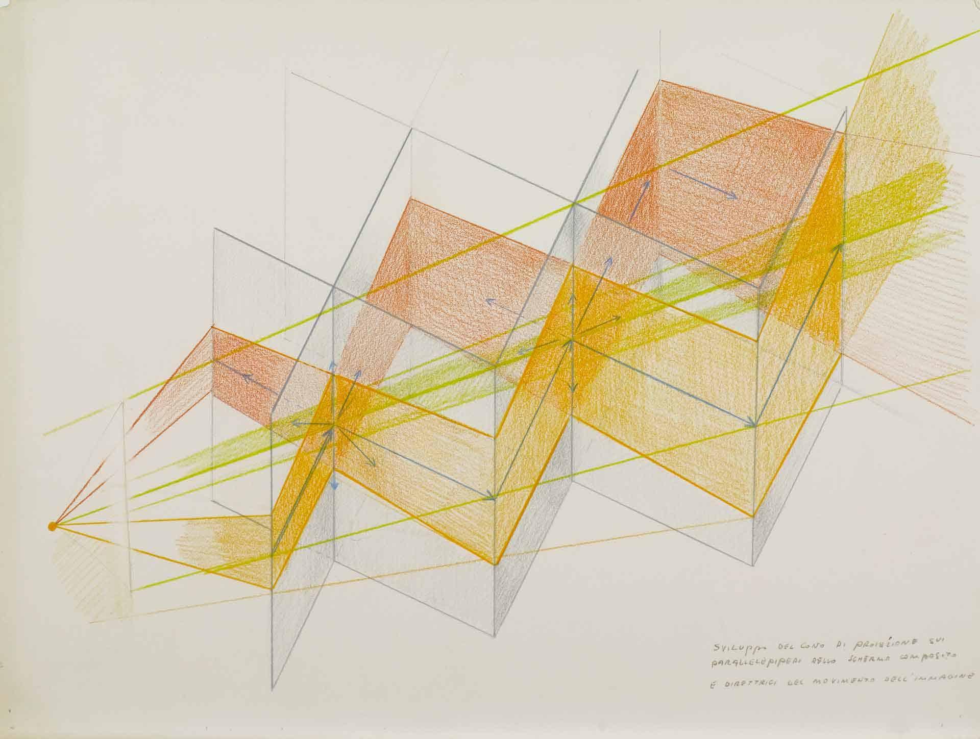 Marinella Pirelli, «Raumslide 4», 1968-69 ca., pastelli su carta, 30 x 40 cm, foto Saporetti Immagine d'Arte Snc, Courtesy Archivio Marinella Pirelli.