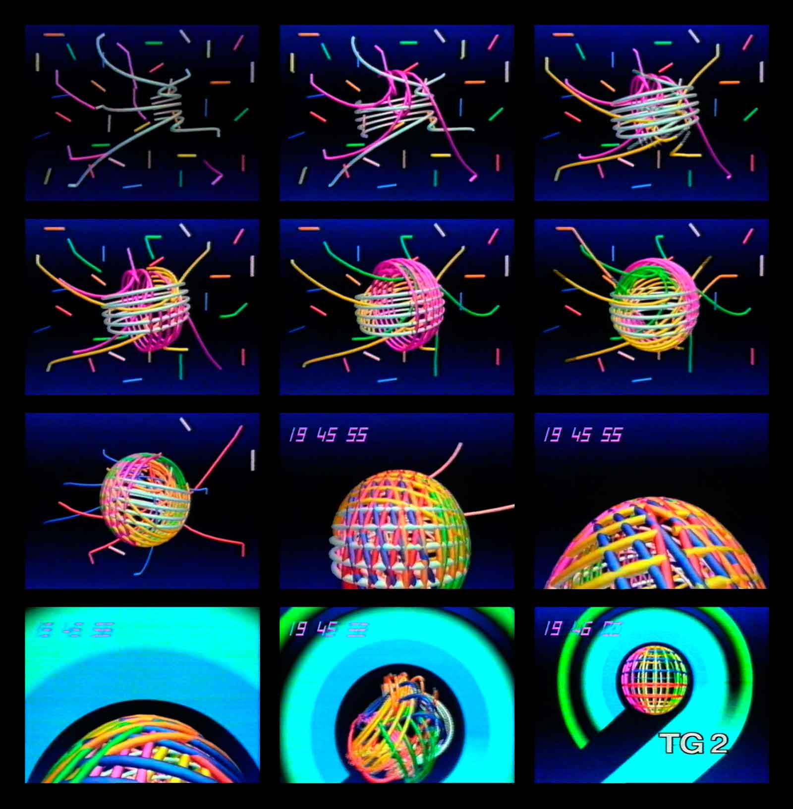 """Mario Sasso, frame dalla «Sigla per il Tg2», Rai 2, 1984, video, 13"""", Colore. Archivio Mario Sasso."""