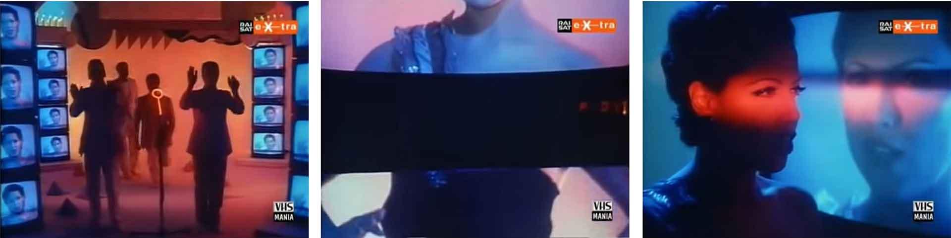 """Matia Bazar, «Il Video sono io», 1983, video, 2'40"""", Colore. Produttore: Mister Fantasy, Rai 1. Direttore: Piccio Raffanini. Scene: Alchimia"""