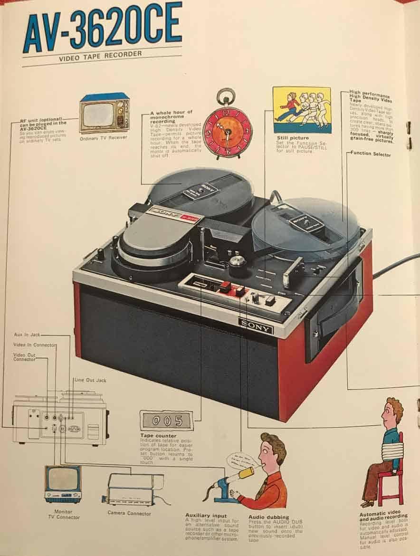 Pagina della presentazione del videoregistratore Sony AV-3620CE con nastro 1/2'' open-reel (bobina aperta). Courtesy Archivio dell'Obelisco, La Centrale dell'Arte, Roma.