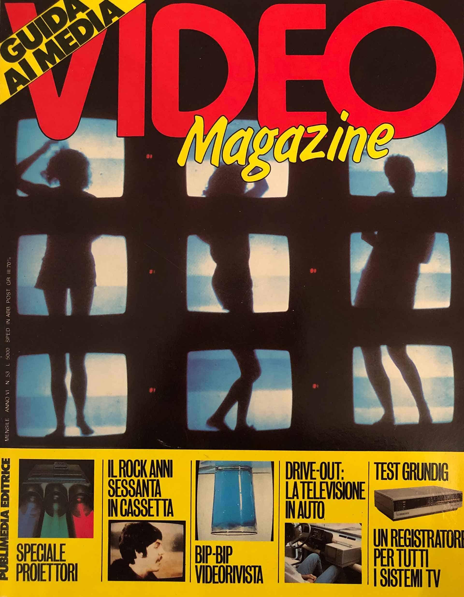 «Video Magazine», N. 53, Marzo 1986. Copertina raffigurante Studio Azzurro e Giorgio Barberio Corsetti, «Prologo a un diario segreto contraffatto», opera videoteatrale, La Piramide, Roma 1985