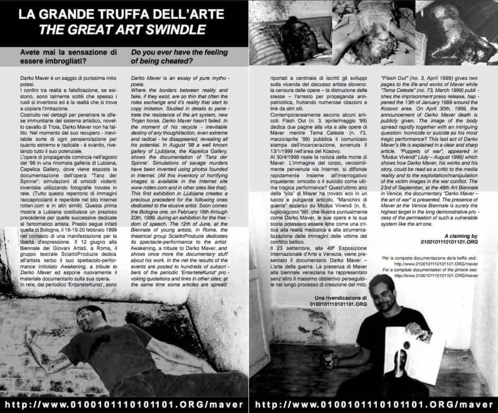Eva e Franco Mattes (0100101110101101.org), La Grande Truffa dell'Arte, Darko Maver.
