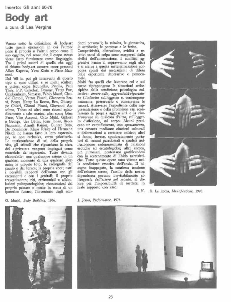 Lea Vergine sulla Body Art, in «NAC/Notiziario di Arte Contemporanea», n. 12/1973, p. 23.