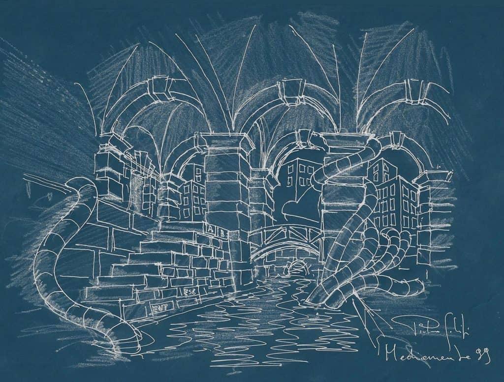 Bozzetto di scenografia virtuale per MediaMente, La cisterna mediatica, Pietro Galifi 1999, (Archivio Altair4 Multimedia).