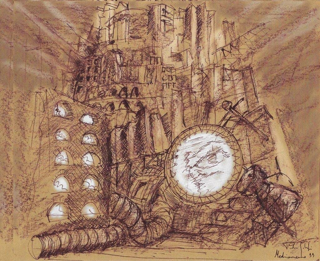 Bozzetto per la sigla di MediaMente, Pietro Galifi 1999 (Archivio Altair4 Multimedia).