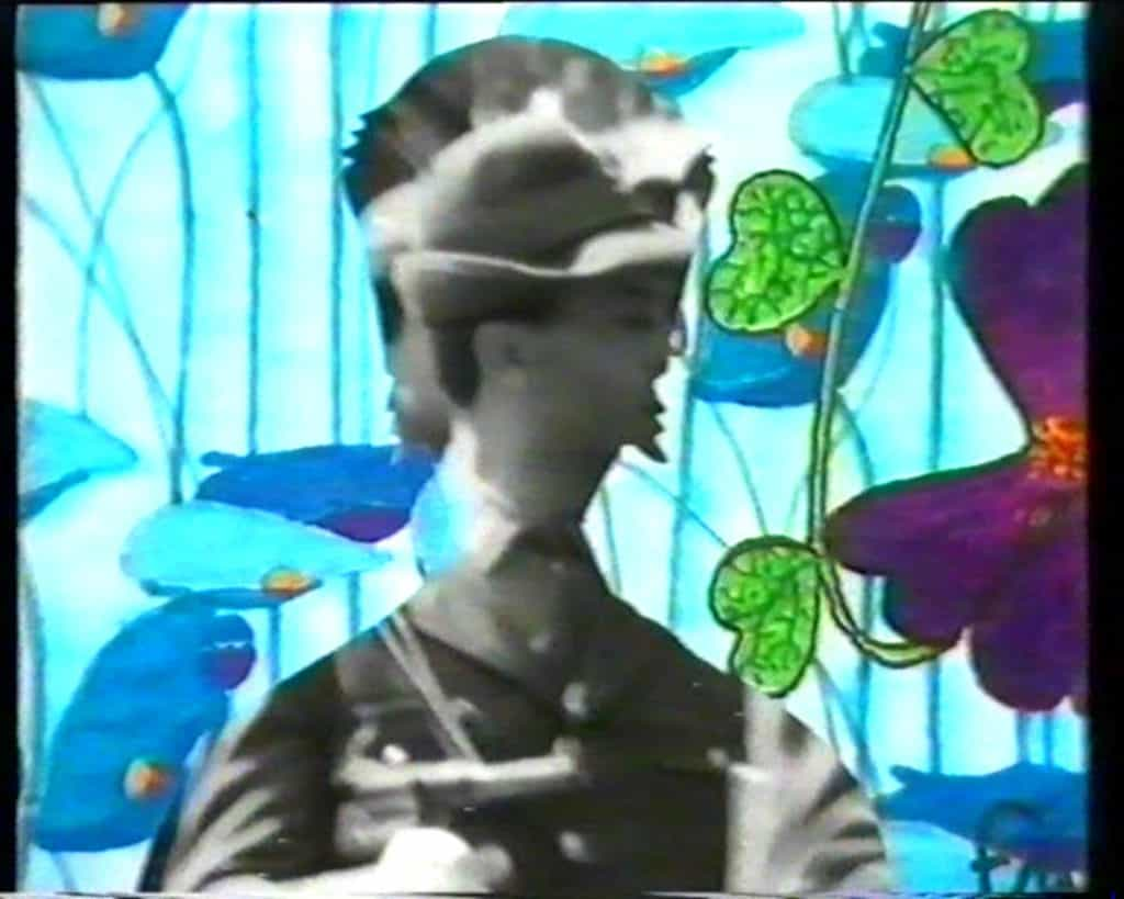 Disegno intarsiato con immagini di repertorio. Frame tratto dal video <em>Olivo verde vivo</em>.