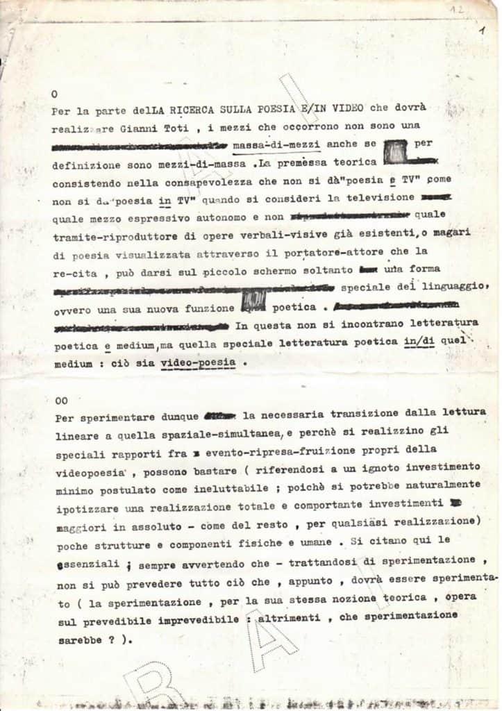 Gianni Toti, <em>Occorrenze minimali per la videopoesia</em>, dattiloscritto, 23 luglio 1979, Roma, La Casa Totiana - Poetronicart, Fondo Gianni Toti