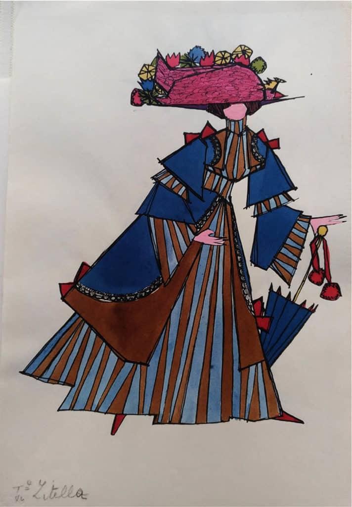 """Giosetta Fioroni, studio del costume """"IV Zitella"""" per i corsi all'Accademia di Belle Arti di Roma, s.d. [1950-1955], Courtesy Fondazione Giosetta Fioroni. Archivio Giosetta Fioroni, Roma."""