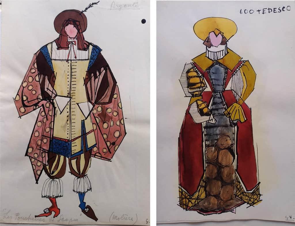 Giosetta Fioroni, studio di costumi per i corsi all'Accademia di Belle Arti di Roma, s.d. [1950-1955]. Courtesy Fondazione Giosetta Fioroni. Archivio Giosetta Fioroni, Roma.