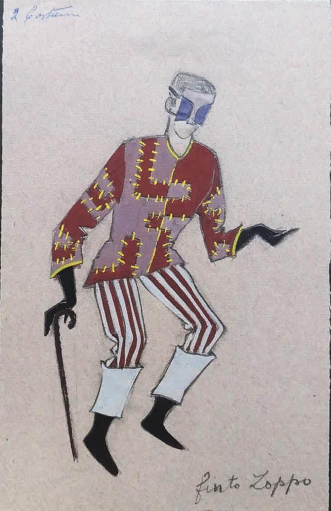"""Giosetta Fioroni, studio del costume per """"Finto zoppo"""", <em>Gli Interessi Creati</em>, 1955. Courtesy Fondazione Giosetta Fioroni. Archivio Giosetta Fioroni, Roma."""