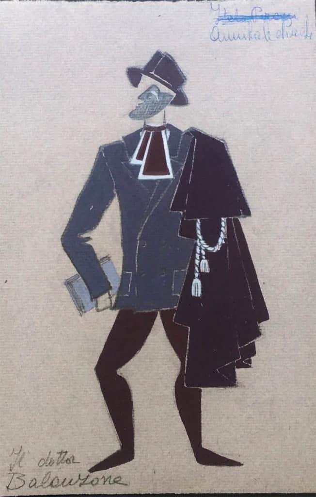 """Giosetta Fioroni, studio del costume per """"Il dottor Balanzone"""", <em>Gli Interessi Creati</em>, 1955. Courtesy Fondazione Giosetta Fioroni. Archivio Giosetta Fioroni, Roma."""