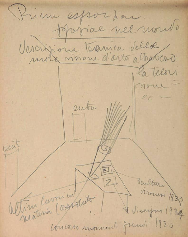 Lucio Fontana, Disegni su blocchi, 1948. Matita su carta, 22,8 x 18,3 cm (48 DBL 26). Fondazione Lucio Fontana, Milano. ©Fondazione Lucio Fontana, by Siae 2020.