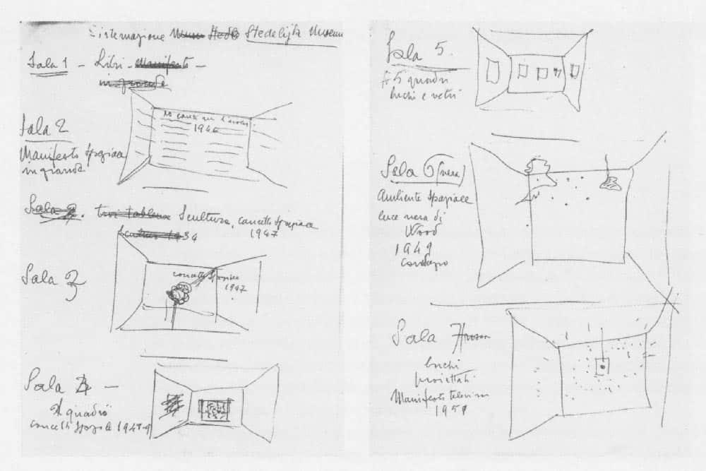 Lucio Fontana, Progetto di allestimento della mostra allo Stedelijk Museum di Amsterdam, 1967, riprodotto in P. Campiglio (a cura di), <em>Lucio Fontana. Lettere 1919-1968</em>, Skira, Milano 1999, p. 241.