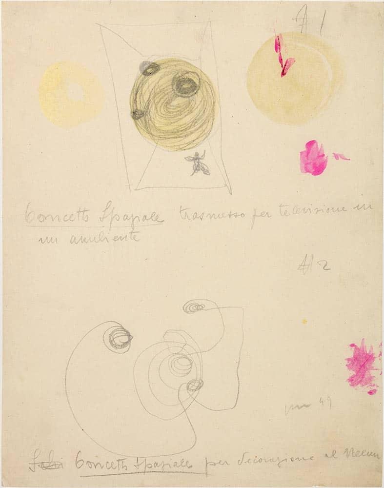 Lucio Fontana, Studi per <em>Ambiente spaziale</em>, 1949. Matita e acquarello su carta, 28 x 22 cm (49 DAS 23). Fondazione Lucio Fontana, Milano. ©Fondazione Lucio Fontana, by Siae 2020.