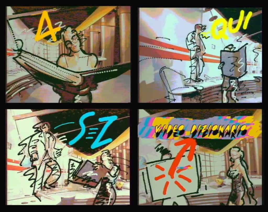 Massimo Iosa Ghini, Ranuccio Sodi, Il videodizionario di Obladì Obladà, still da video, 1985.