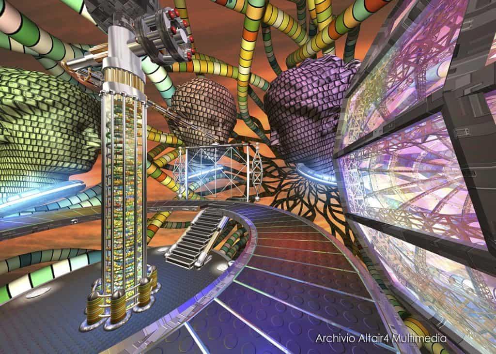 Scenografia virtuale per MediaMente 1999, Interconnessioni (Archivio Altair4 Multimedia).