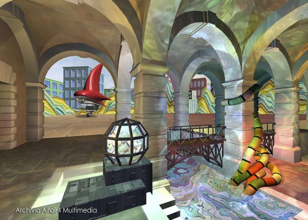 Scenografia virtuale per MediaMente, La cisterna mediatica, 1999 (Archivio Altair4 Multimedia).