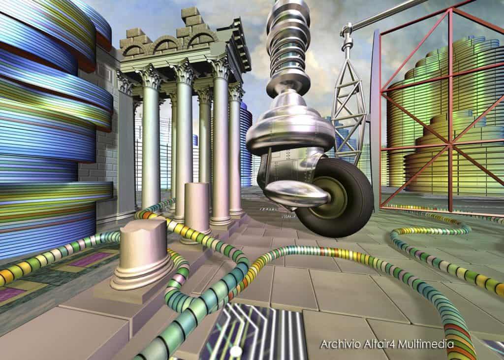 Scenografia virtuale per MediaMente, La ruota del cyberscopio, 1999 (Archivio Altair4 Multimedia).