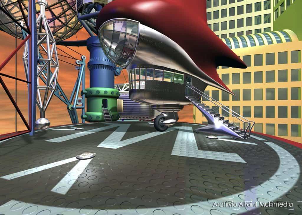 Scenografia virtuale per MediaMente, il cyberfish, 1999 (Archivio Altair4 Multimedia).