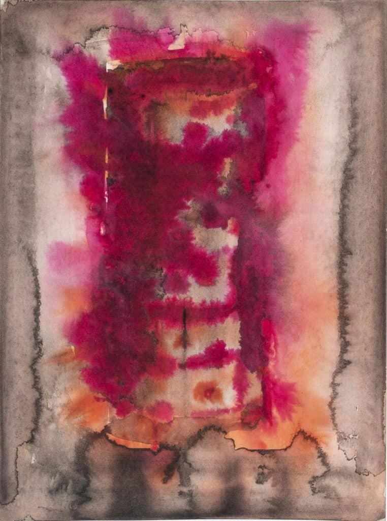 Alfredo Pirri, 2020. Progetto per l'opera <em>Fuoco, Cenere, Silenzio</em>, acquerello su carta Arches cm 23 x 31.