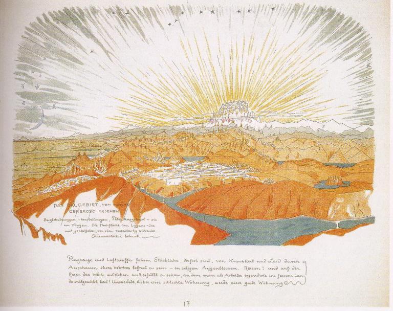Bruno Taut, <em>Alpine Architektur</em>, 1919; da un progetto per opera cinematografica sulla fusione tra architettura e natura.