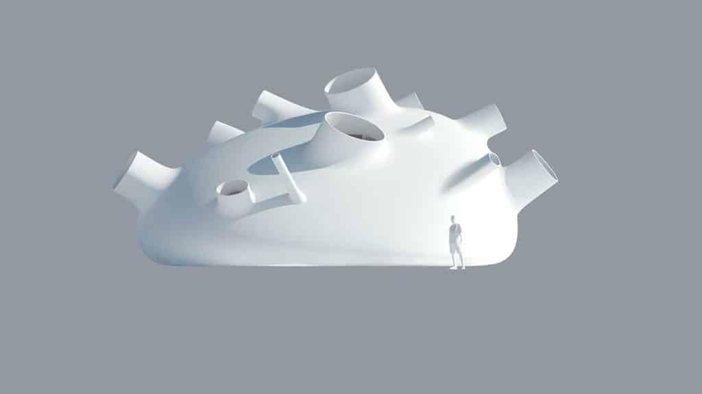 """""""Casa circadiana"""". Modello di architettura della luce diurna che illumina diverse stanze in diversi momenti della giornata; C. Fournier 2018."""