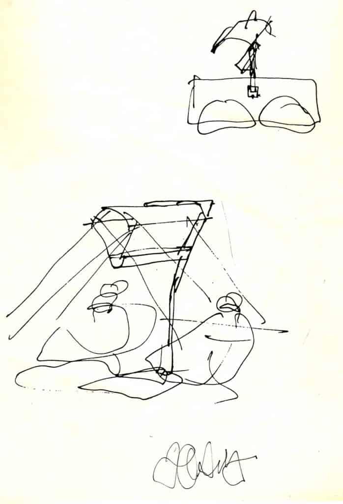 Bozzetto di Frank Gehry. Progetto di <em>bright light therapy</em> (da una sessione di lavoro di progettazione con  M. Terman, 1988, progetto non realizzato)