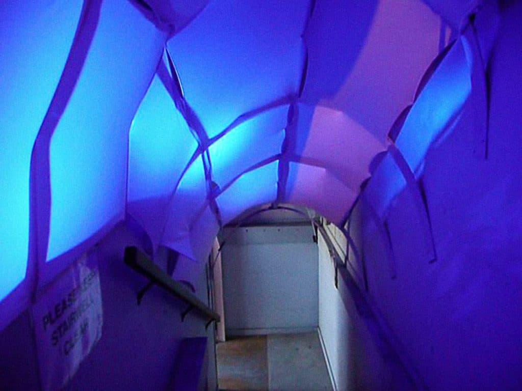 """Il tunnel del risveglio. Avviso di luce blu all'ingresso della mostra. <em>""""L'incubatrice del risveglio"""": scienza del sonno e arti dello spettacolo in dialogo</em>, Massey University NZ (2010). Foto Anna Wirz-Justice."""