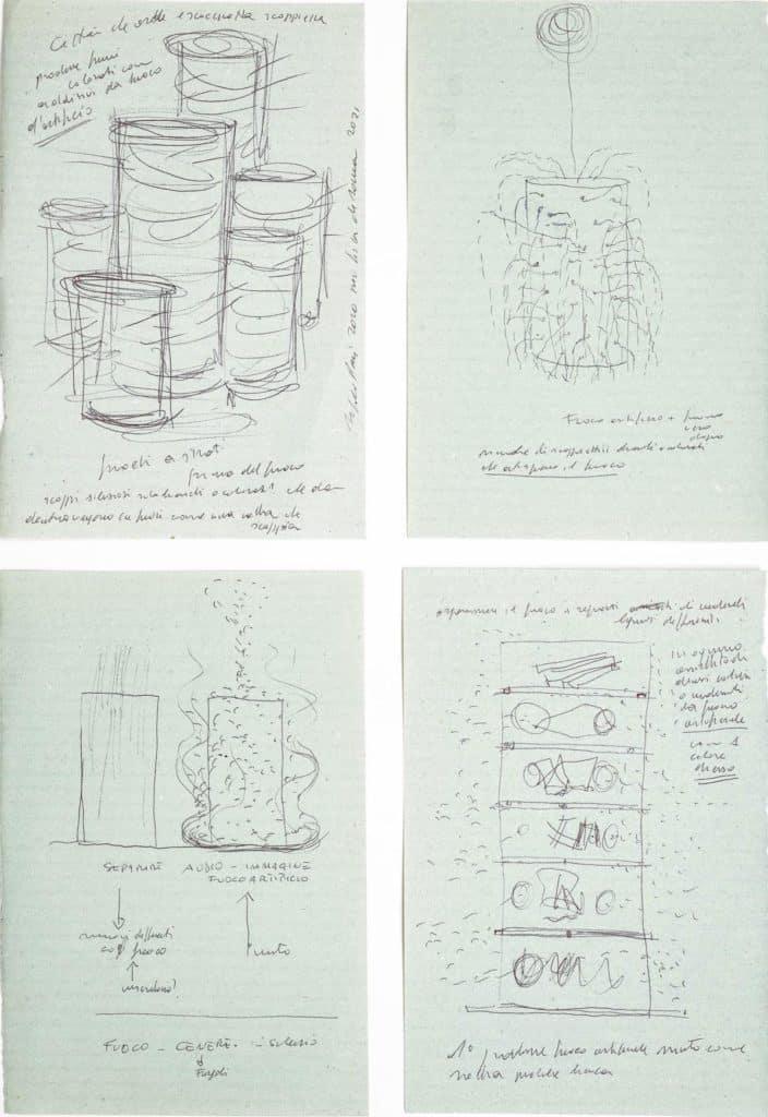 Alfredo pirri, quattro disegni per l'opera <em>Fuoco, Cenere, Silenzio</em>. Inchiostro su carta uso mano, ognuno cm 14 x 21.