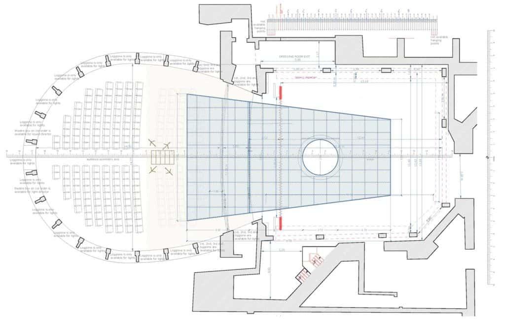 Teatro Nazionale di Napoli, Teatro Mercadante, pianta scala 1:100. SOLARIS | PROGETTO SCENOGRAFICO SIMONE MANNINO © 2020.