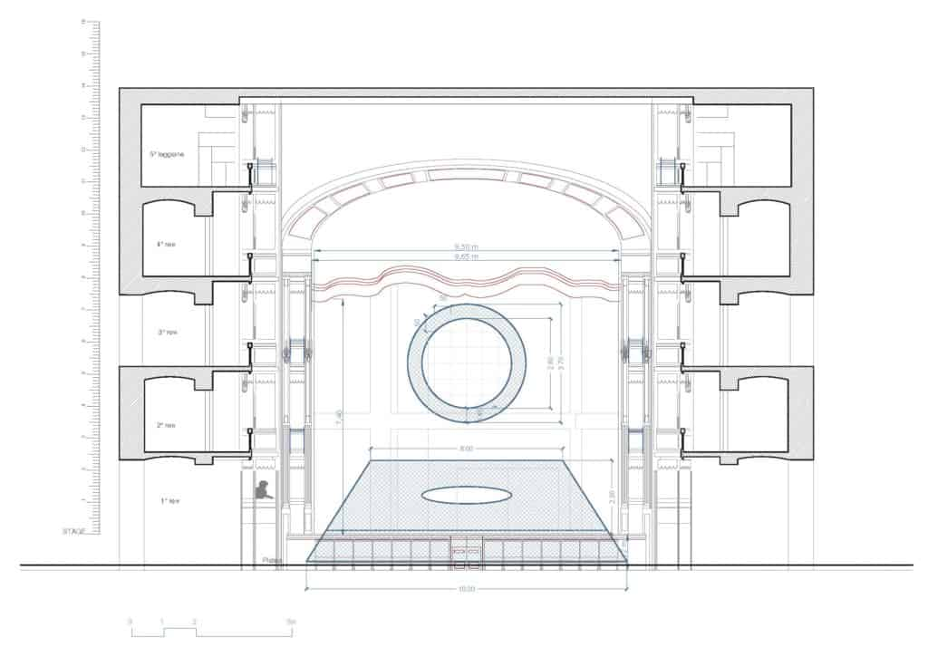 Teatro Nazionale di Napoli, Teatro Mercadante, prospetto scala 1:100. SOLARIS | PROGETTO SCENOGRAFICO SIMONE MANNINO © 2020.
