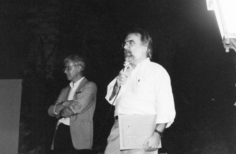 John Hanhardt e Gianfranco Mantegna, 1987. Rassegna internazionale video d'autore. Taormina.