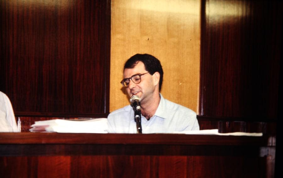 Giorgio Maragliano, 1990. Foto di Enrico Cocuccioni. Rassegna internazionale video d'autore. Taormina.