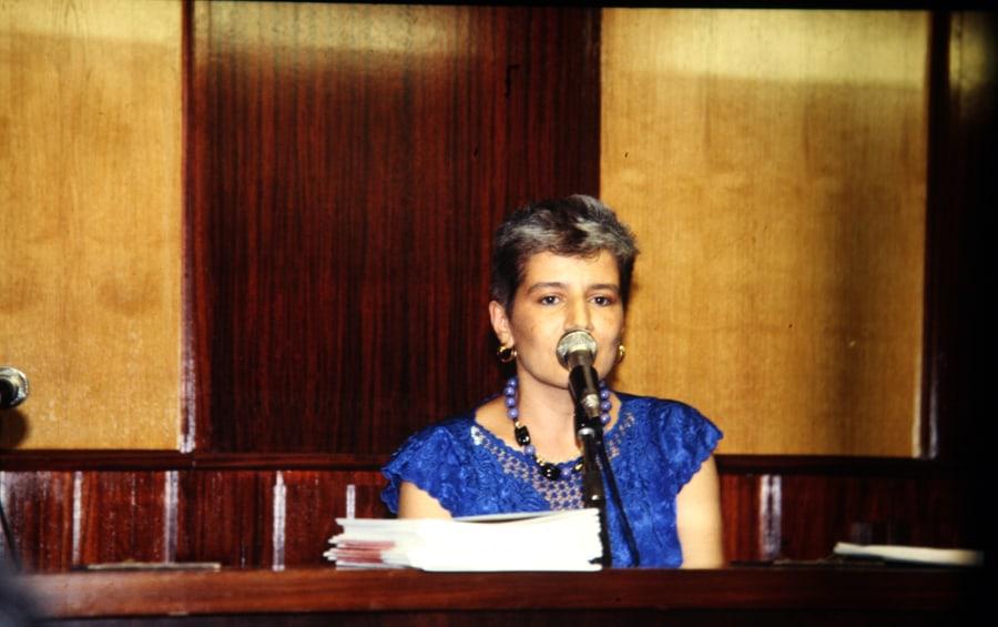 Valentina Valentini, 1990. Foto di Enrico Cocuccioni. Rassegna internazionale video d'autore. Taormina.