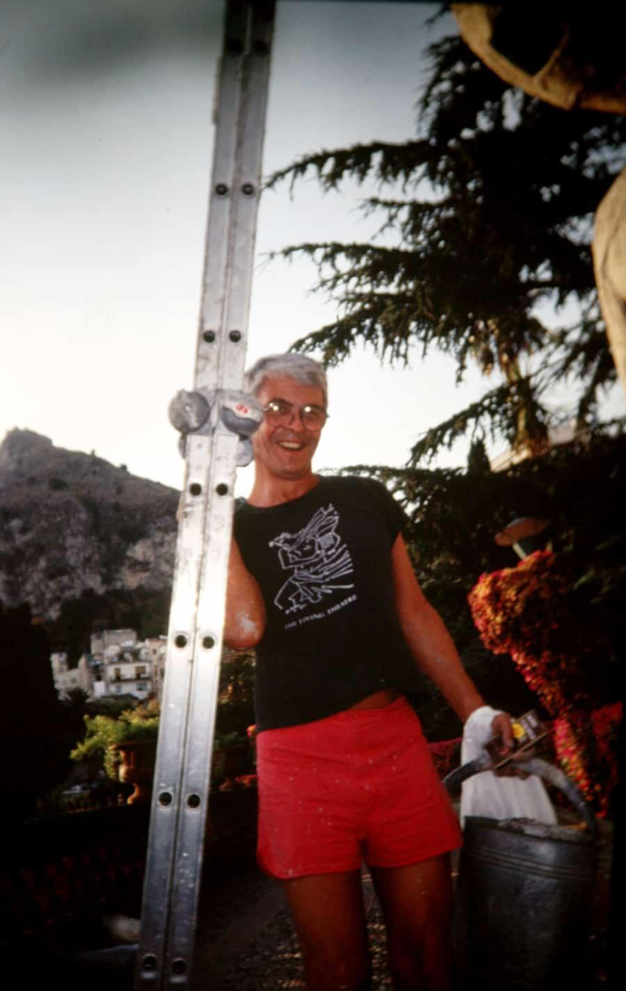 Gianfranco Mantegna, 1991. Foto di Enrico Cocuccioni. Rassegna internazionale video d'autore. Taormina.