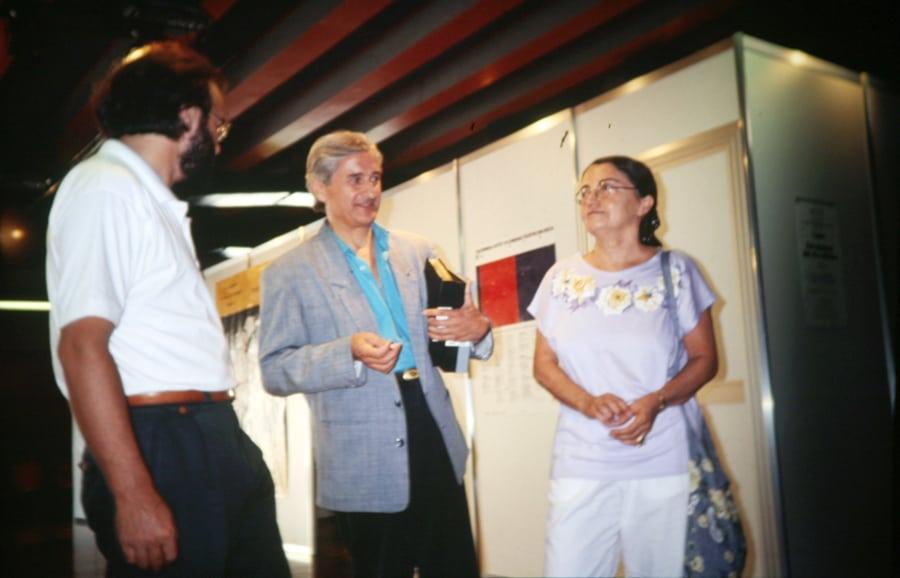 Agostino Conforti, Guido Lombardi e Anna Lajolo (videobase) 1991. Foto di Enrico Cocuccioni. Rassegna internazionale video d'autore. Taormina.