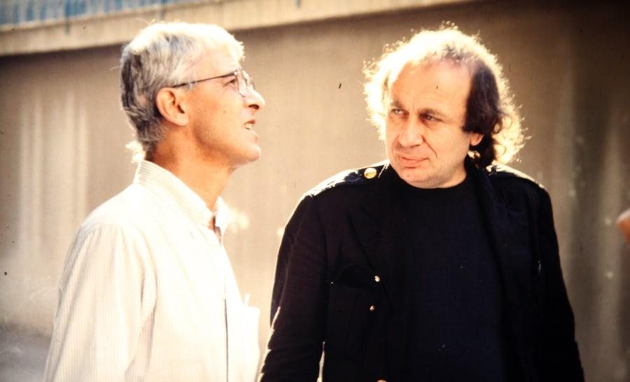Vito Acconci, Gianfranco Mantegna, 1991. Foto di Enrico Cocuccioli. Rassegna internazionale video d'autore. Taormina.
