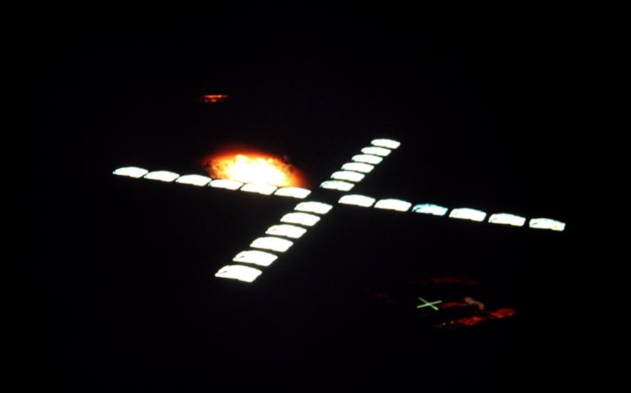Studio Azzurro. Il segno involato. 1990. Foto di Enrico Cocuccioni. Rassegna internazionale del video d'autore. Taormina.