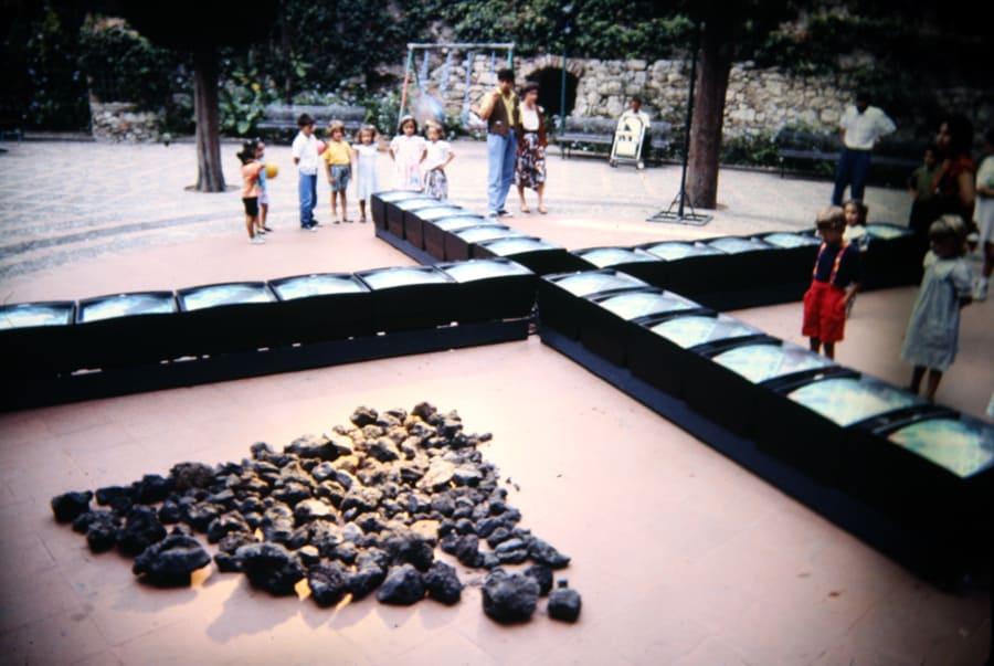 Studio Azzurro. Il segno involato. 1990. Foto di Gianfranco Mantegna. Rassegna internazionale del video d'autore. Taormina.