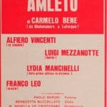 Poster of Amleto performed at the Alfieri theater in Turin in 1975. (Archivio dell'Orsa, Turin)