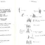 Giorgio Barberio Corsetti. Descrizione di una battaglia. 1988. Storyboad second scene. Drawings by Giorgio Barberio Corsetti. Published in G. B. Corsetti, R. Molinari (ed.), 'L'attore mentale', Ubulibri, Milan, 1992.